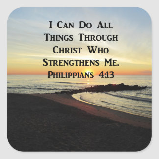 BREATHTAKING PHILIPPIANS 4:13 SCRIPTURE VERSE SQUARE STICKER