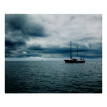 Breathtaking Ship Sailing on Stormy Seas Dramatic Poster