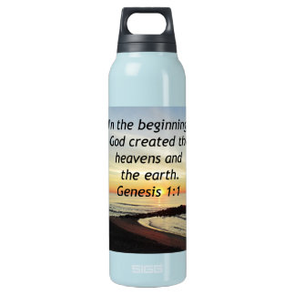 BREATHTAKING SUNRISE ON THE OCEAN GENESIS 1:1 INSULATED WATER BOTTLE
