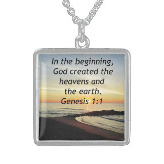 BREATHTAKING SUNRISE ON THE OCEAN GENESIS 1:1 STERLING SILVER NECKLACE