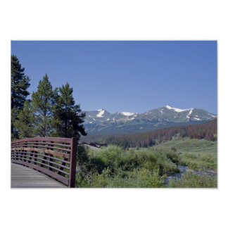 Breckenridge Bike Bridge and Mountains Poster