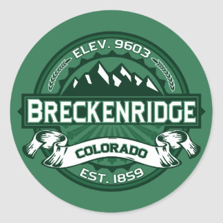 "Breckenridge ""Colorado Green"" Logo Classic Round Sticker"