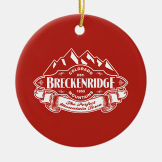 Breckenridge Mountain Emblem Red Ceramic Ornament