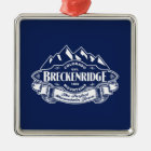 Breckenridge Mountain Emblem Silver Metal Ornament