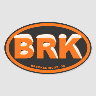 Breckenridge Safety Orange Snow Oval Oval Sticker