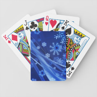Breezy Christmastime Snowflakes on Blue Bicycle Playing Cards