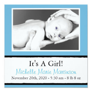 Breezy New Baby Photo Announcements (Blue)