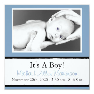 Breezy New Baby Photo Announcements (Blue Gray)