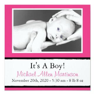 Breezy New Baby Photo Announcements (Dark Pink)