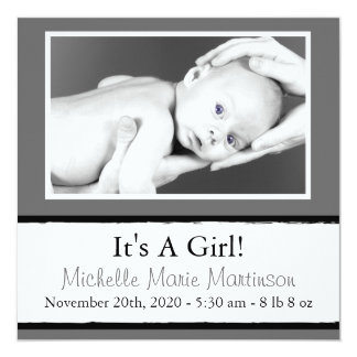 Breezy New Baby Photo Announcements (Gray)
