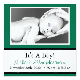 Breezy New Baby Photo Announcements (Green)