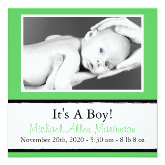 Breezy New Baby Photo Announcements (Lime Green)