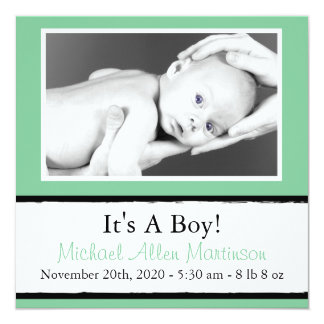 """Breezy New Baby Photo Announcements (Mint Green) 5.25"""" Square Invitation Card"""