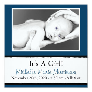 """Breezy New Baby Photo Announcements (Navy Blue) 5.25"""" Square Invitation Card"""