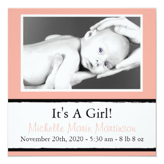 Breezy New Baby Photo Announcements (Peach)