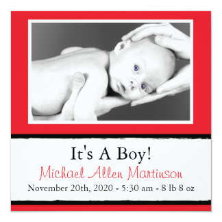 Breezy New Baby Photo Announcements (Red)