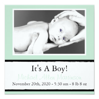 Breezy New Baby Photo Announcements (Sage Green)