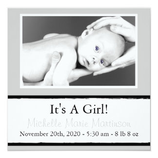Breezy New Baby Photo Announcements (Silver)