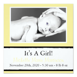 Breezy New Baby Photo Announcements (Yellow)