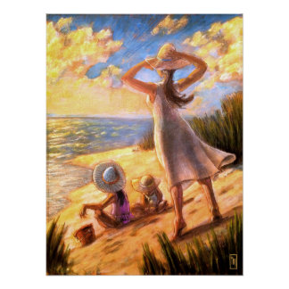 Breezy Ocean Beach Seascape Art Print Poster
