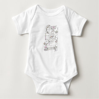 Breezy-Whimsical Geometric Abstract Baby Bodysuit