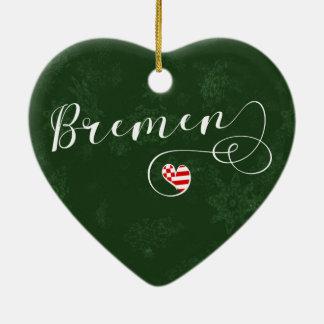 Bremen Heart, Christmas Tree Ornament, Germany Ceramic Ornament
