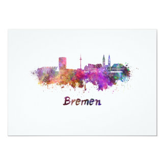 Bremen skyline in watercolor card