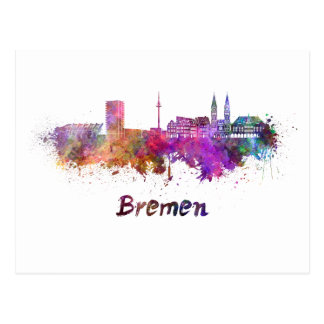 Bremen skyline in watercolor postcard