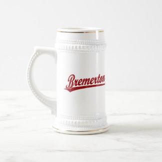Bremerton script logo in red coffee mugs