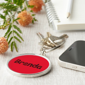 Brenda Round Silvery Keychain