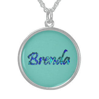 Brenda Solid Blue Keychain Sterling Silver Necklace