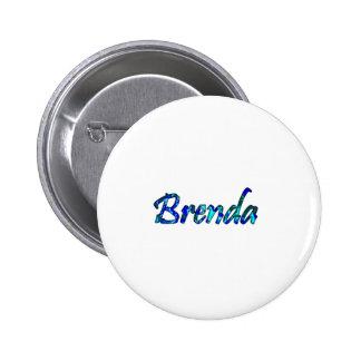 Brenda's white pinback button