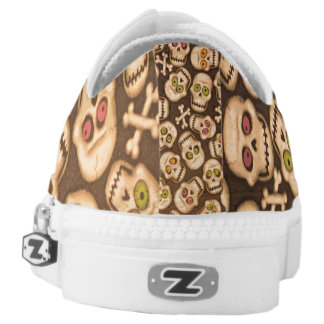 breown skull heads printed shoes