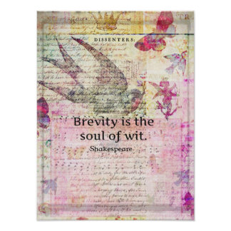 Brevity is the soul of wit QUOTE ART Poster