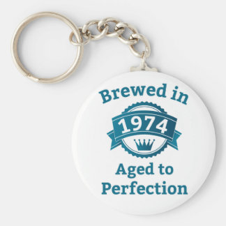 Brewed in 1974 Aged to Perfection Basic Round Button Key Ring