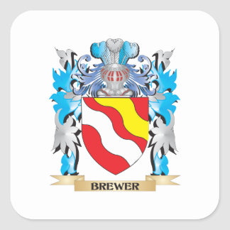 Brewer Coat of Arms Square Stickers
