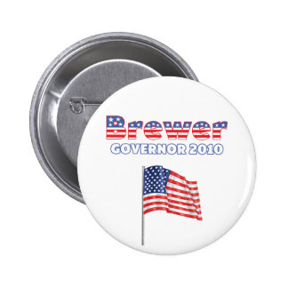 Brewer Patriotic American Flag 2010 Elections Pinback Buttons