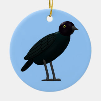 Brewers Blackbird Double-Sided Ceramic Round Christmas Ornament