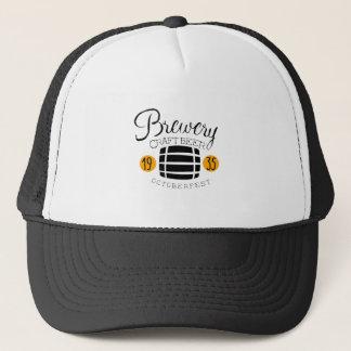 Brewery Logo Design Template With Barrel Trucker Hat