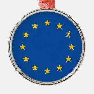 Brexit EU flag Silver-Colored Round Decoration