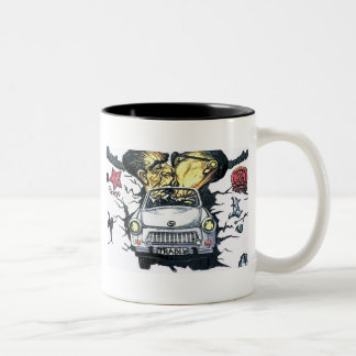 Brezhnev & Honecker, Trabant Car , Berlin (pst) Two-Tone Coffee Mug