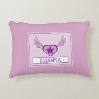 Brianna Cute Girly Heart and Wings Accent Pillow