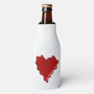 Brianna. Red heart wax seal with name Brianna Bottle Cooler