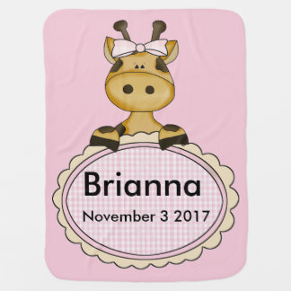 Brianna's Personalized Giraffe Baby Blanket