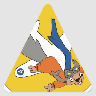Brians WWII Patch Flying Squirrel in Pilot Gear Triangle Sticker