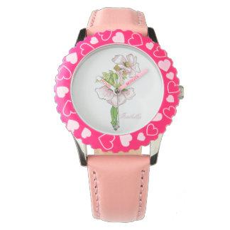 Briar Rose Cute Flower Child Floral Funny Girl Wristwatch