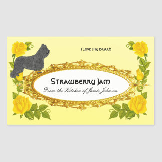 Briard and Yellow Roses use for Canning Jars Rectangular Sticker