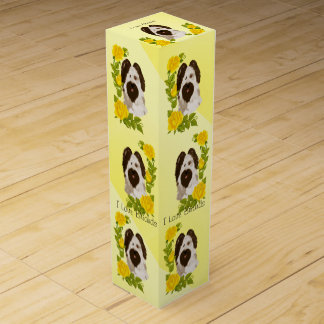 Briard and Yellow Roses Wine Bottle Box