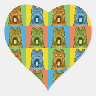 Briard Dog Cartoon Pop-Art Heart Sticker