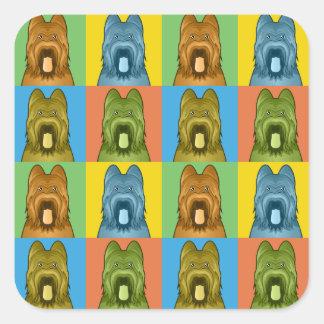 Briard Dog Cartoon Pop-Art Square Sticker